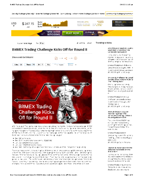 BitMEX Trading Challenge Kicks Off for Round II
