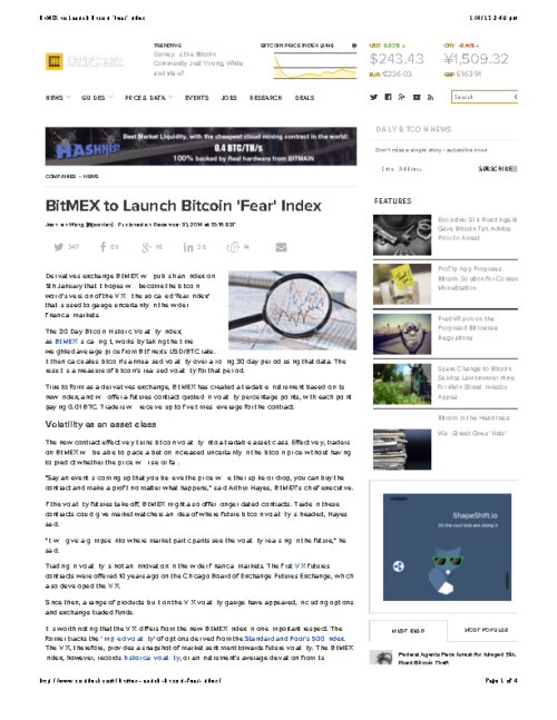 BitMEX to Launch Bitcoin 'Fear' Index