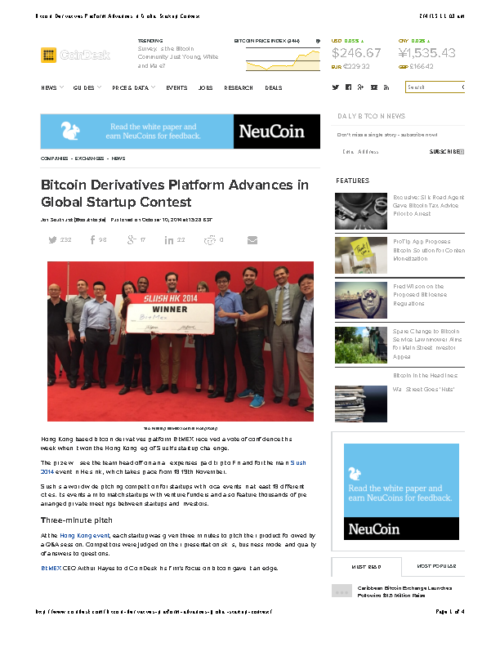 Bitcoin Derivatives Platform Advances in Global Startup Contest
