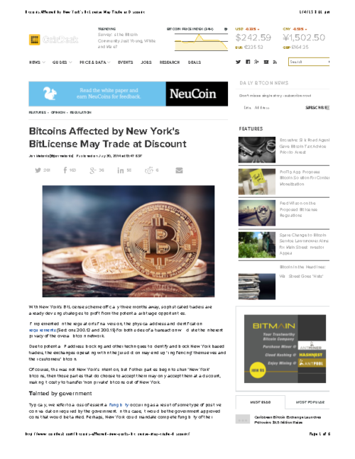 Bitcoins Affected by New York's BitLicense May Trade at Discount