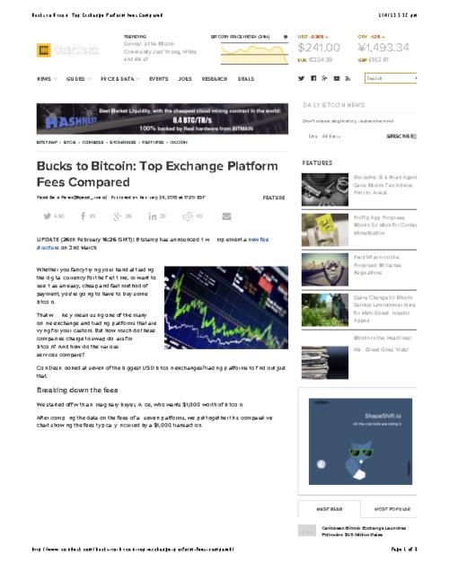 Bucks to Bitcoin: Top Exchange Platform Fees Compared