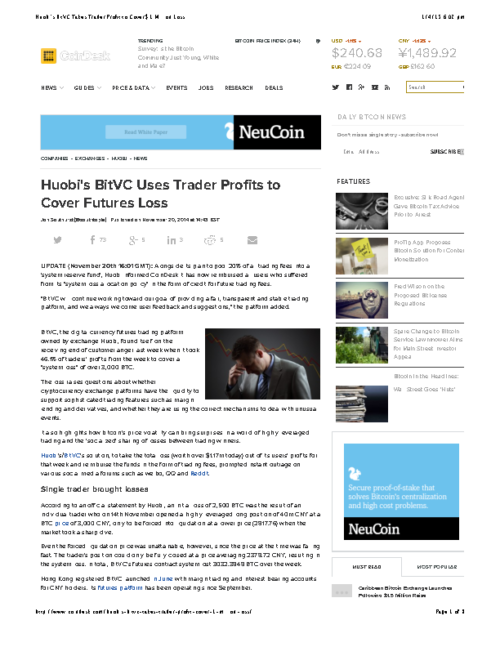 Huobi's BitVC Takes Trader Profit to Cover $1 Million Loss