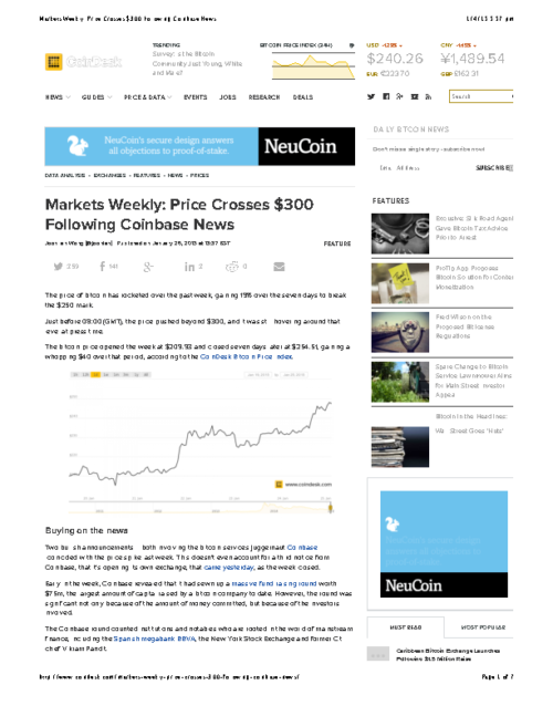 Markets Weekly: Price Crosses $300 Following Coinbase News