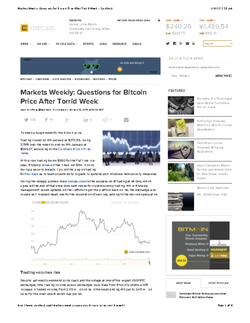 Markets Weekly: Questions for Bitcoin Price After Torrid Week – CoinDesk