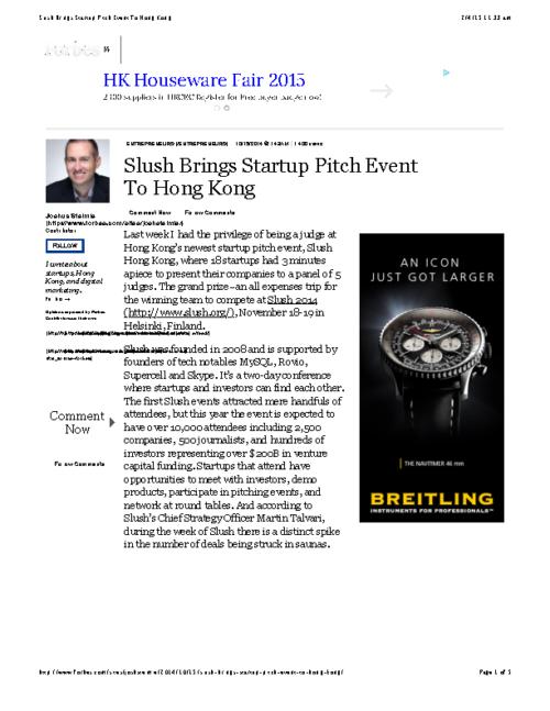Slush Brings Startup Pitch Event To Hong Kong